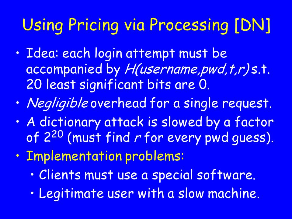Using Pricing via Processing [DN]
