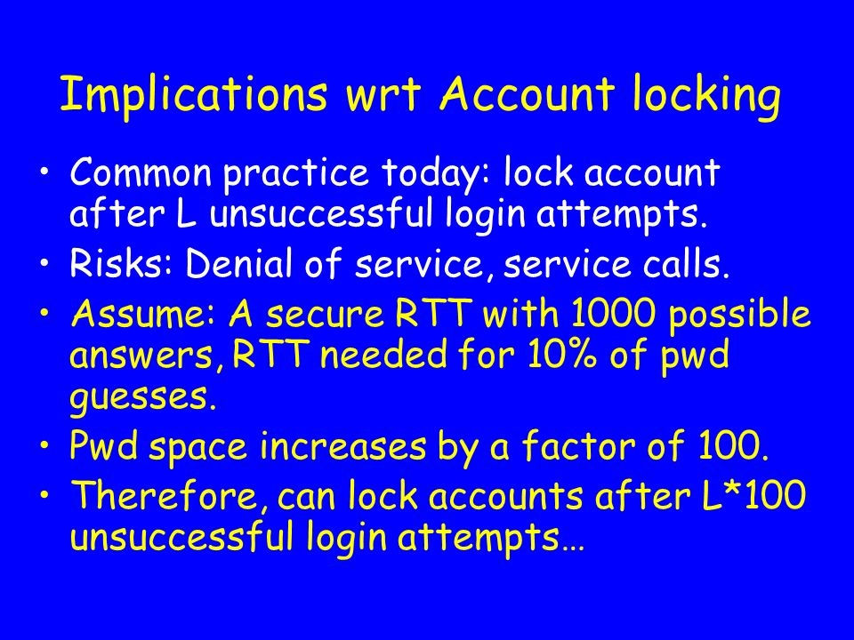 Implications wrt Account locking