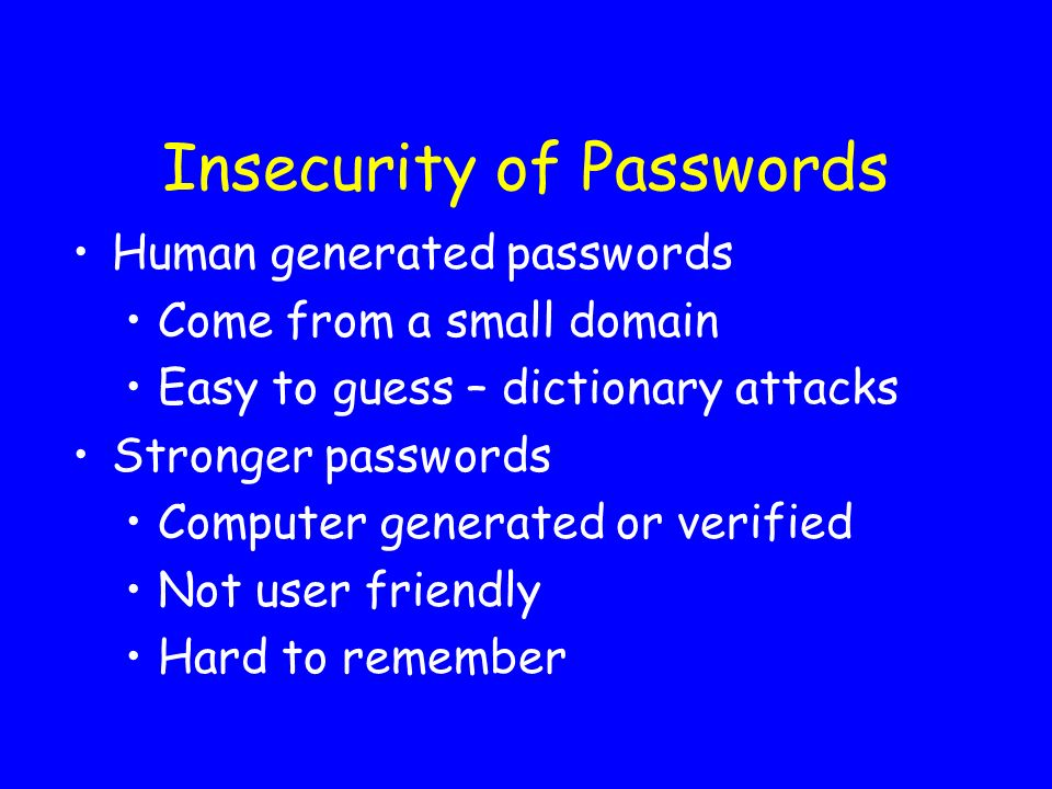 Insecurity of Passwords