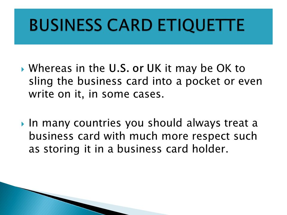 Global business week 4 office etiquette ppt download business card etiquette reheart Image collections