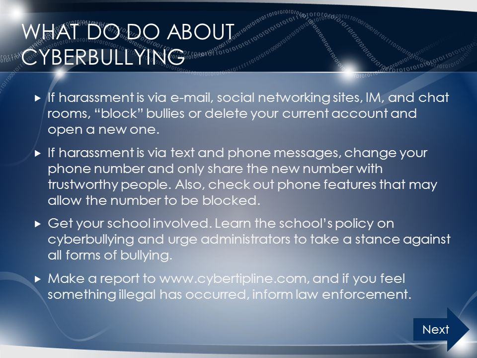 What do do about Cyberbullying