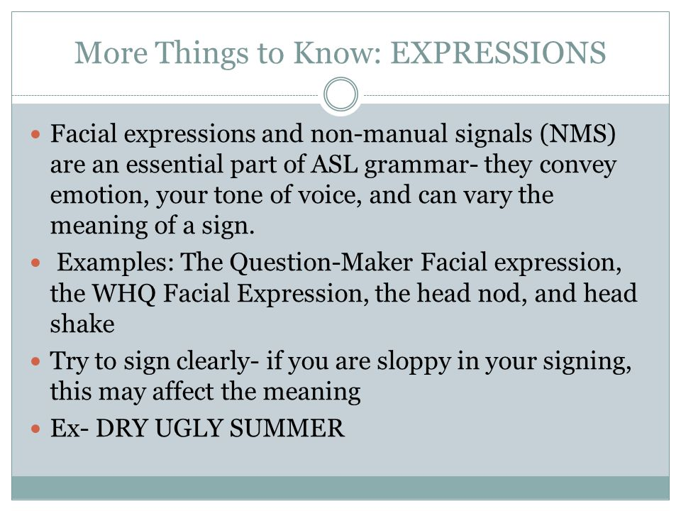 More Things to Know: EXPRESSIONS