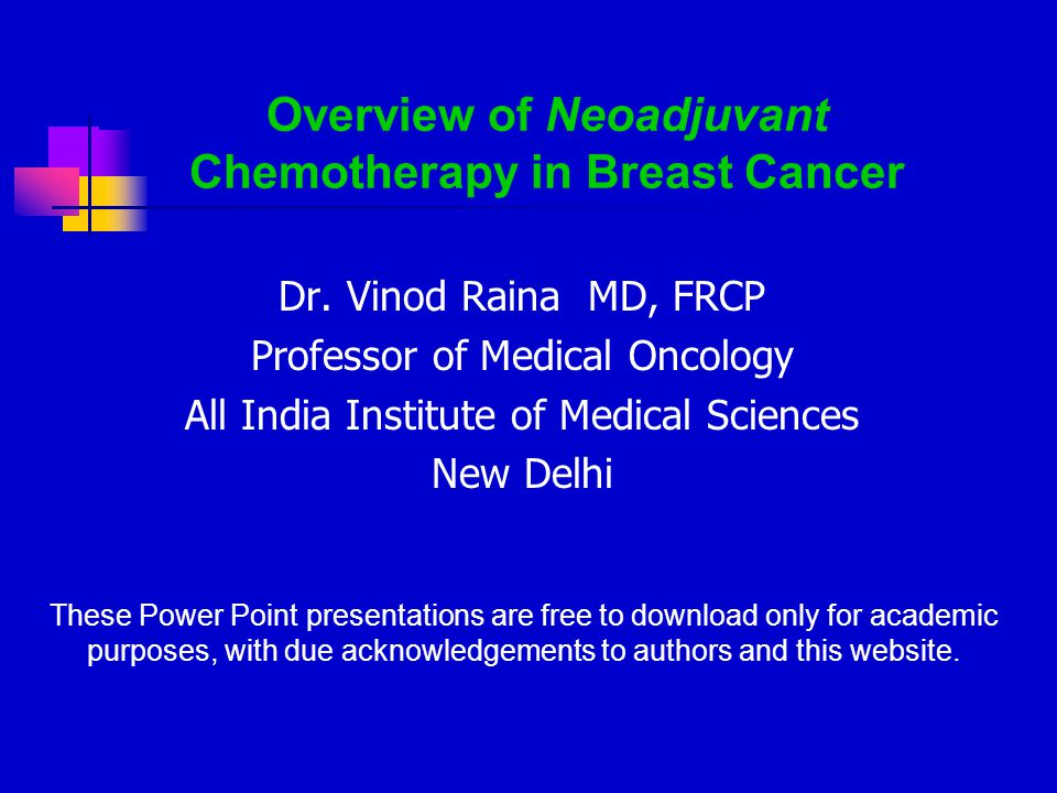 Chemotherapy of breast cancer.