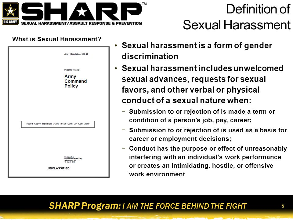 Division army definition of sexual harassment