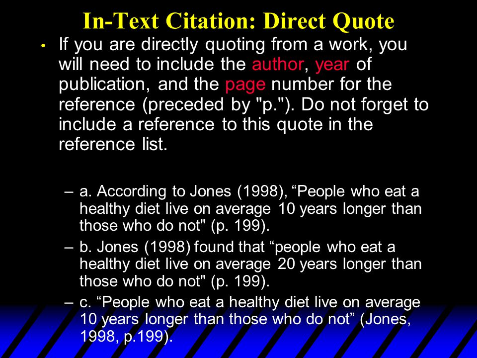 In-Text Citation: Direct Quote