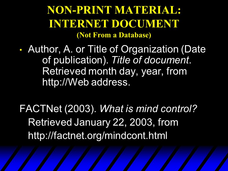 NON-PRINT MATERIAL: INTERNET DOCUMENT (Not From a Database)