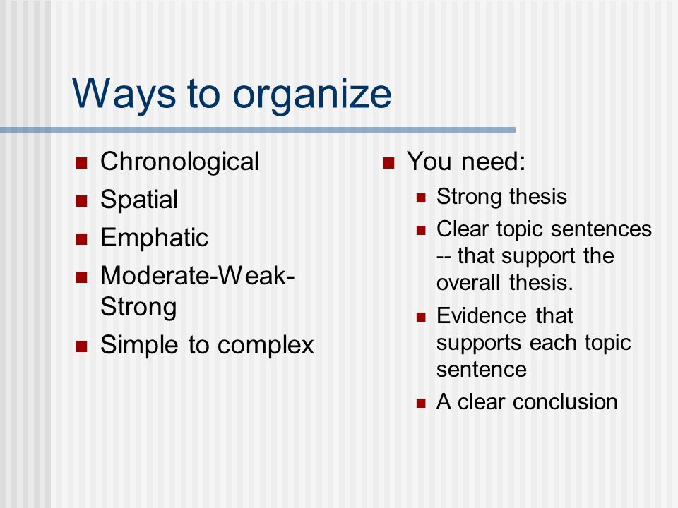 Ways to organize Chronological Spatial Emphatic Moderate-Weak-Strong