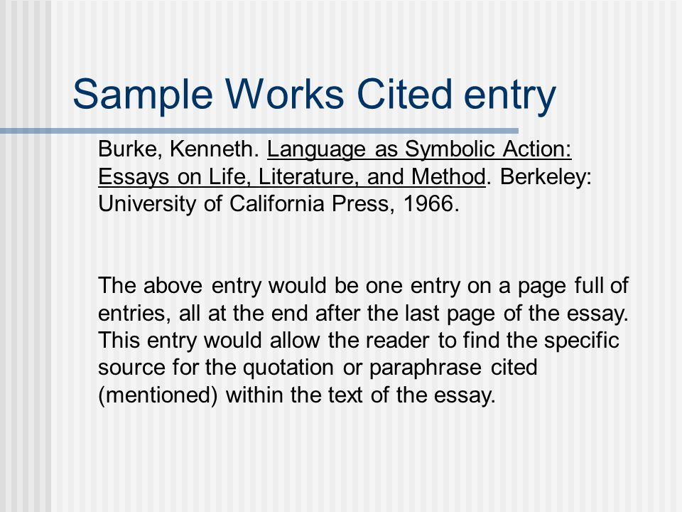 Sample Works Cited entry
