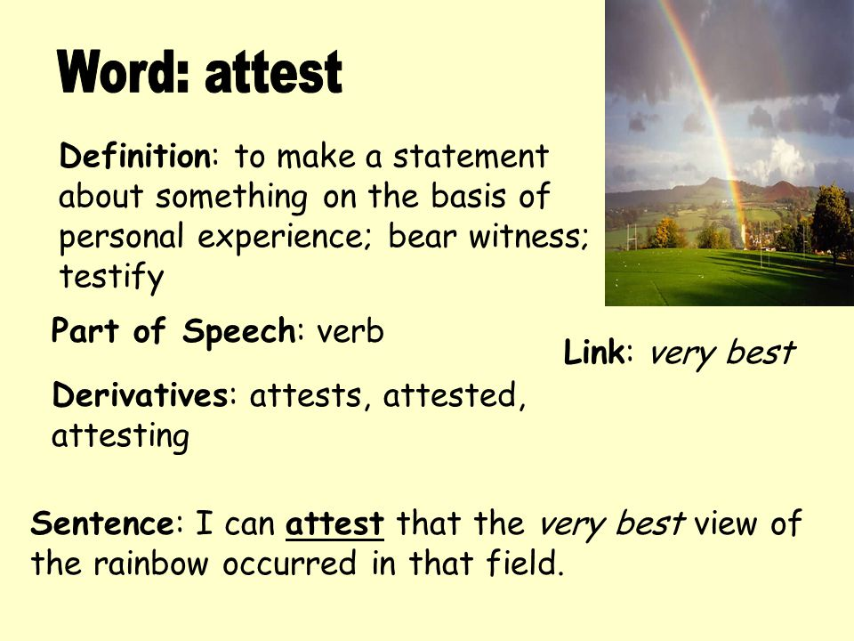 word attest definition to make a statement