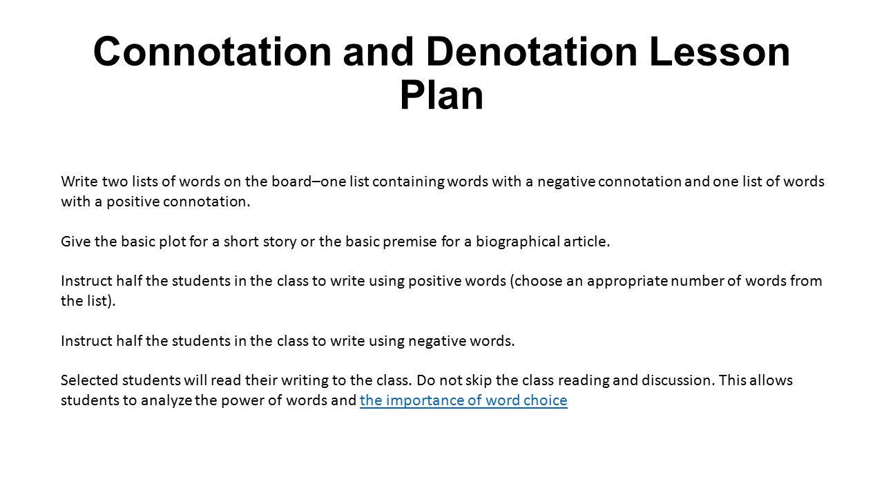 Denotation Vs Connotation Lesson Plan Ppt Video Online Download