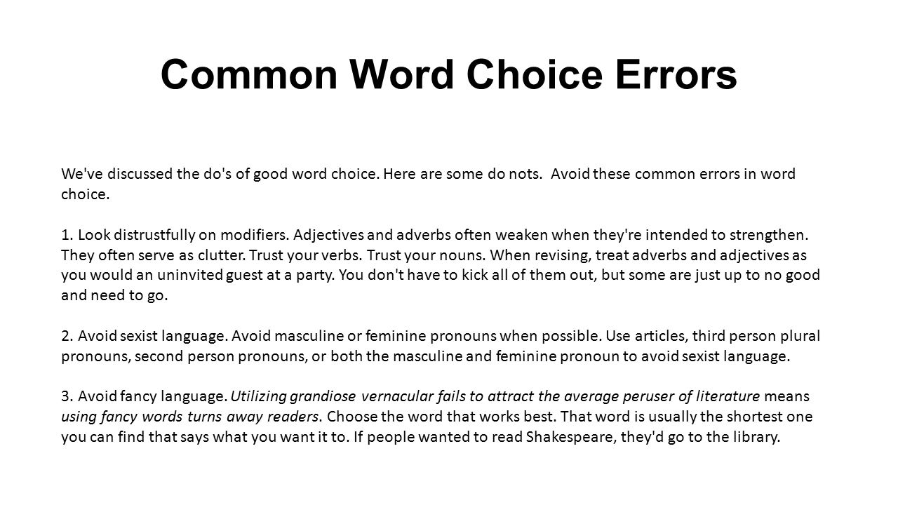 common word choice errors