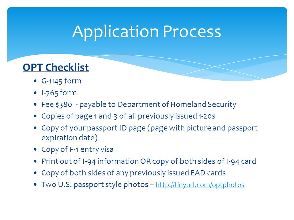 Application Process OPT Checklist G-1145 form I-765 form