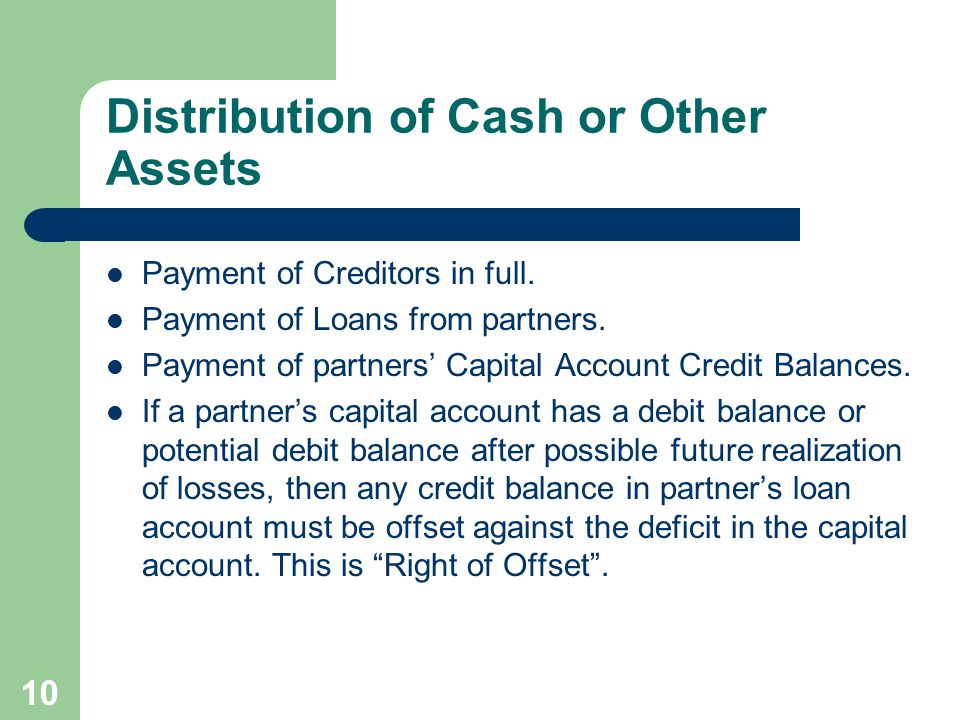 Distribution of Cash or Other Assets