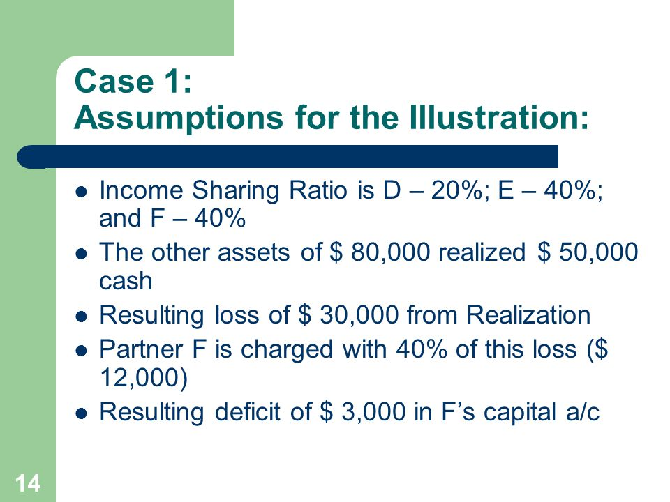 Case 1: Assumptions for the Illustration: