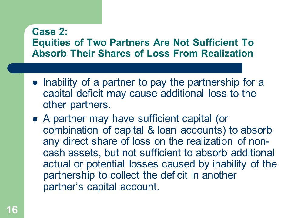 Case 2: Equities of Two Partners Are Not Sufficient To Absorb Their Shares of Loss From Realization