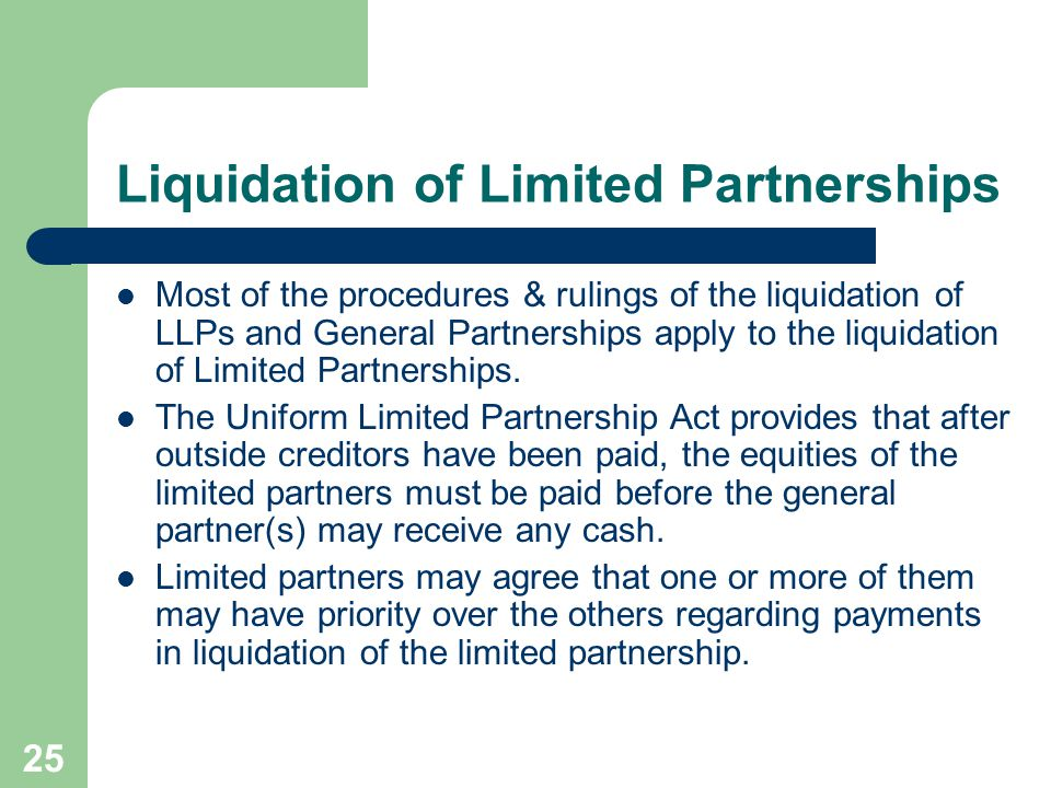 Liquidation of Limited Partnerships