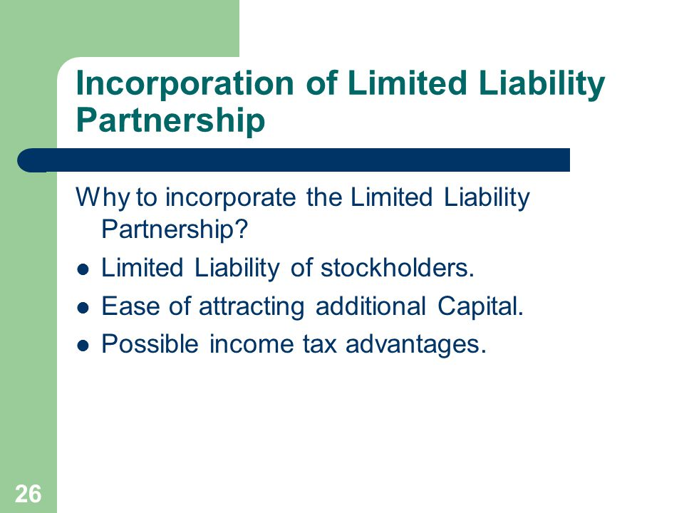 Incorporation of Limited Liability Partnership