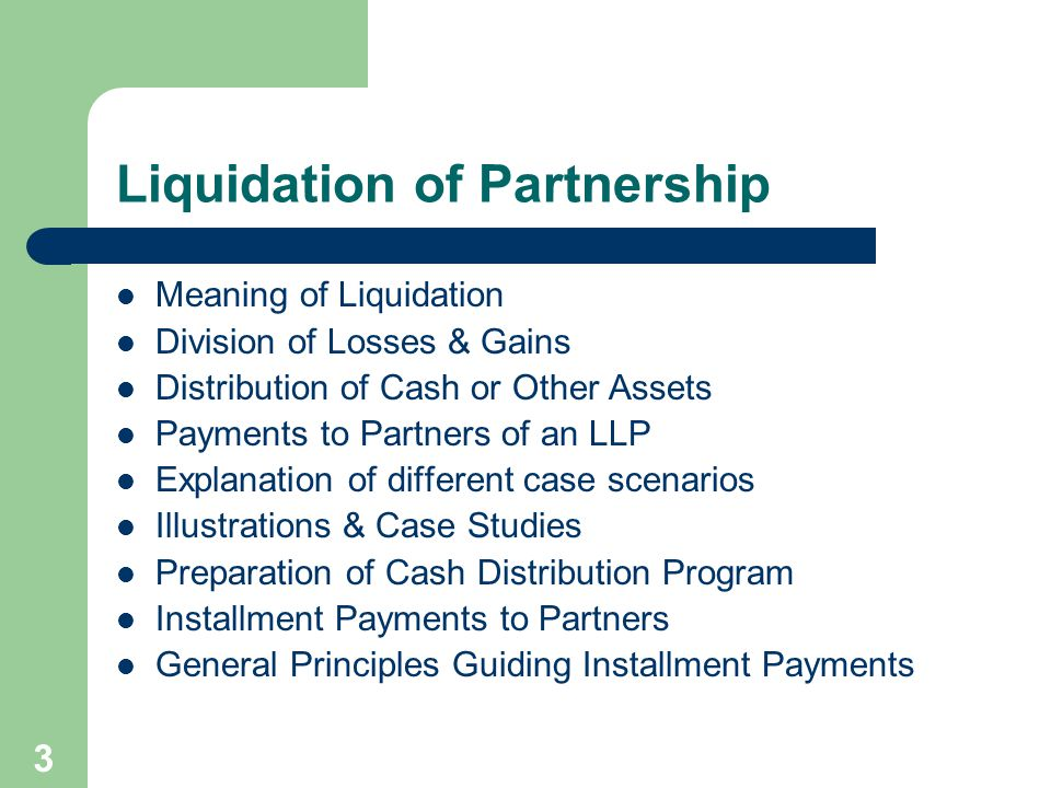 Liquidation of Partnership