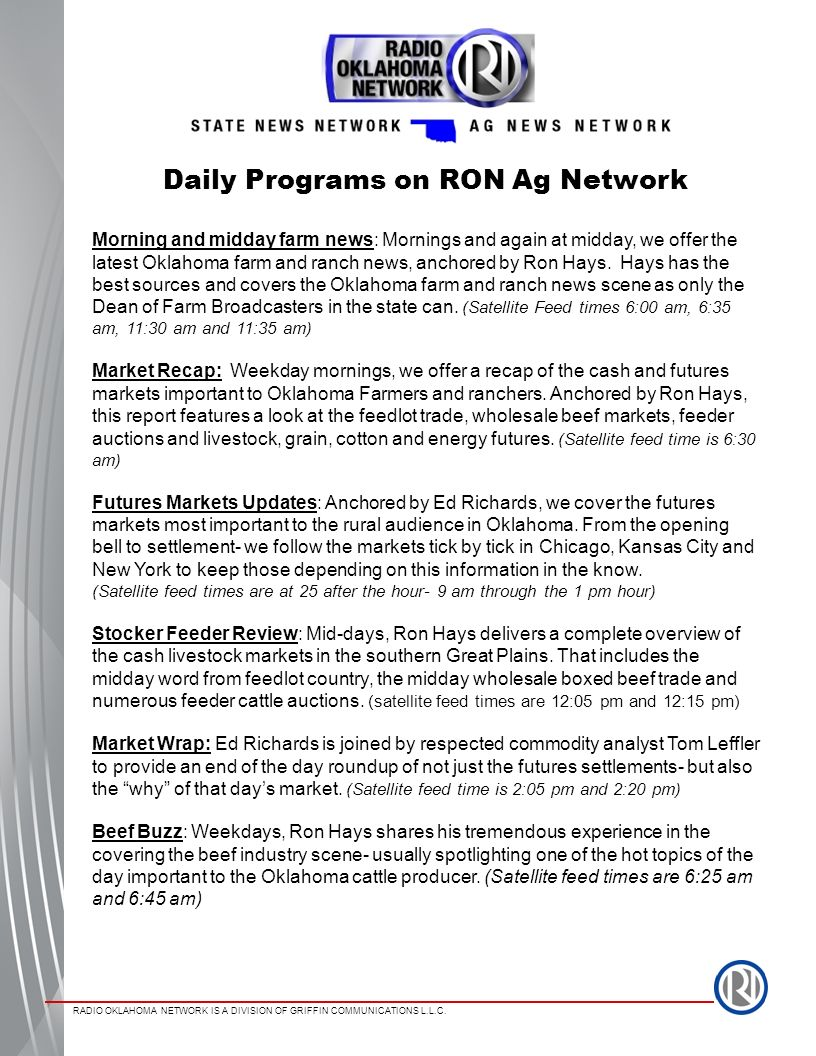 Daily Programs on RON Ag Network