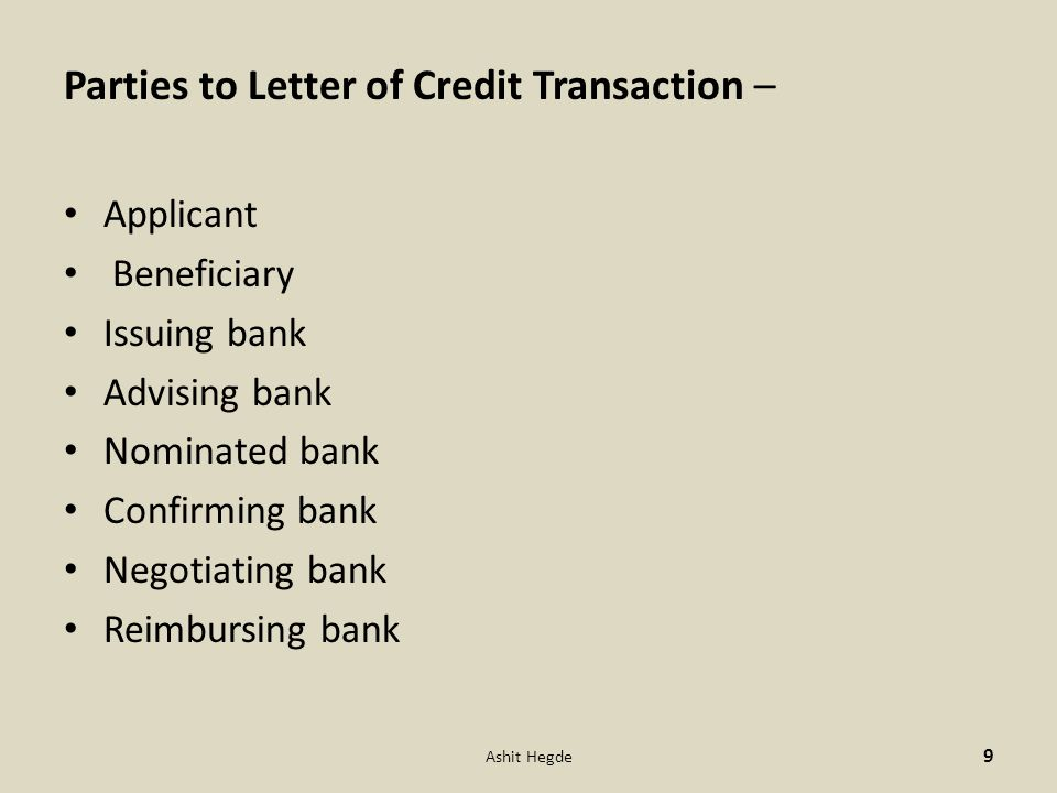 Letter of credit ashit hegde ppt video online download parties to letter of credit transaction altavistaventures Image collections