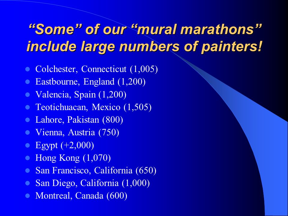 Some of our mural marathons include large numbers of painters!