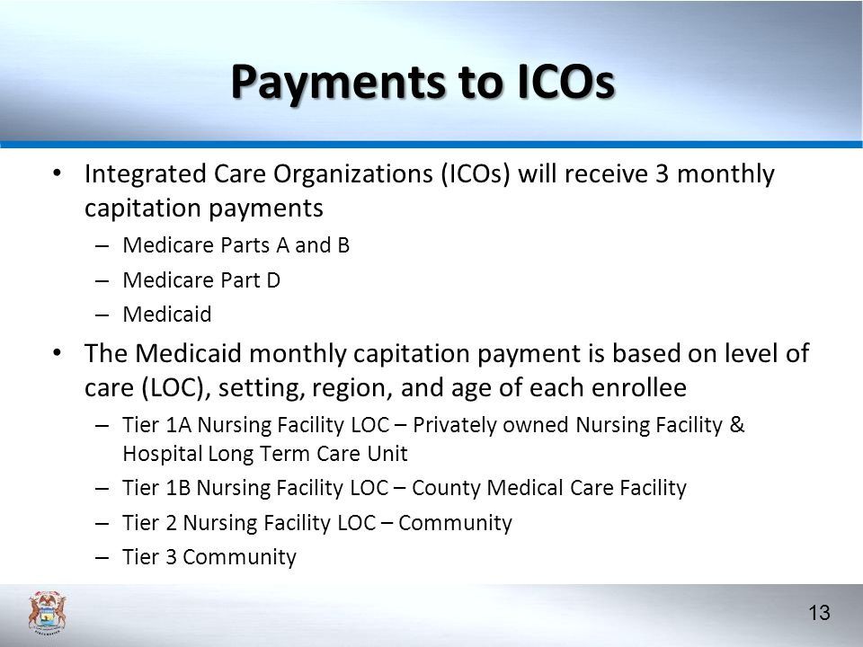Payments to ICOs Integrated Care Organizations (ICOs) will receive 3 monthly capitation payments. Medicare Parts A and B.