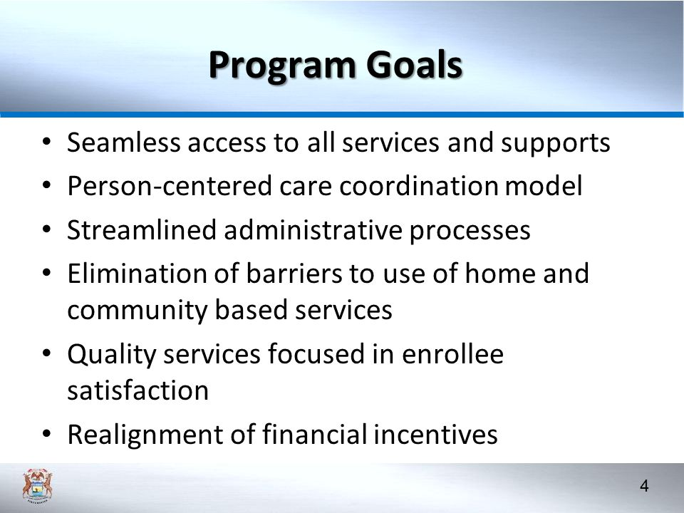 Program Goals Seamless access to all services and supports