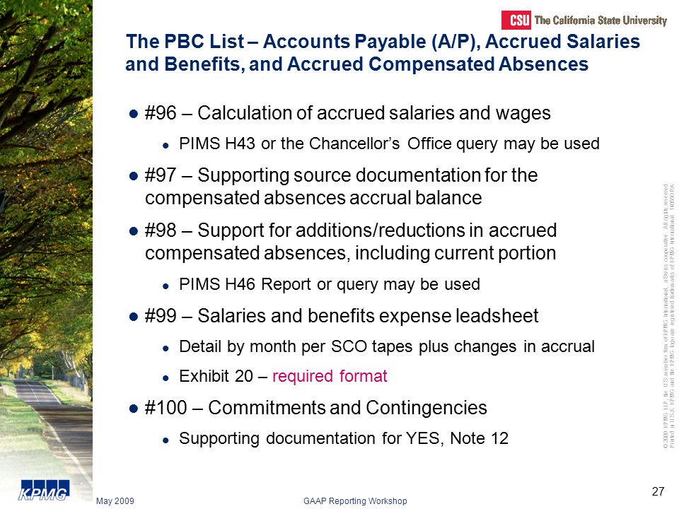Prepared by Client (PBC) List Chapter 9 Presented by KPMG