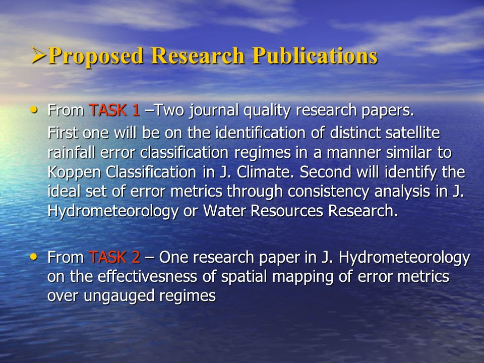 Proposed Research Publications
