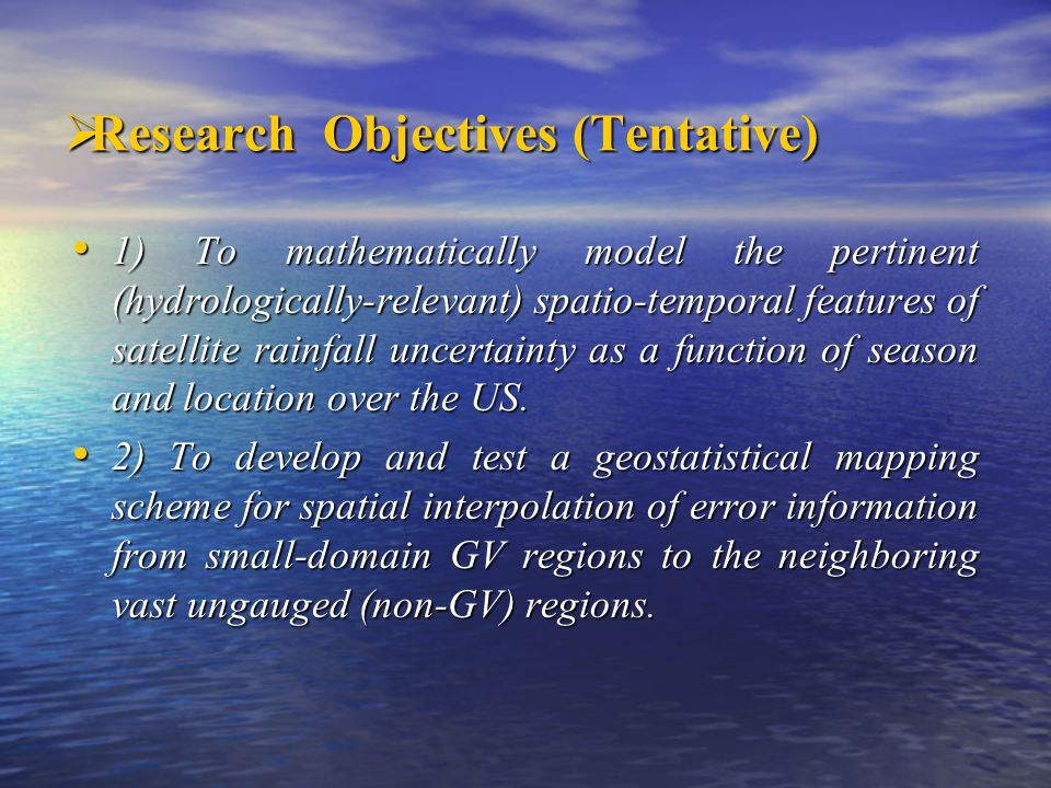 Research Objectives (Tentative)