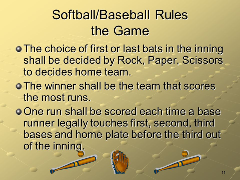 Softball/Baseball Rules the Game