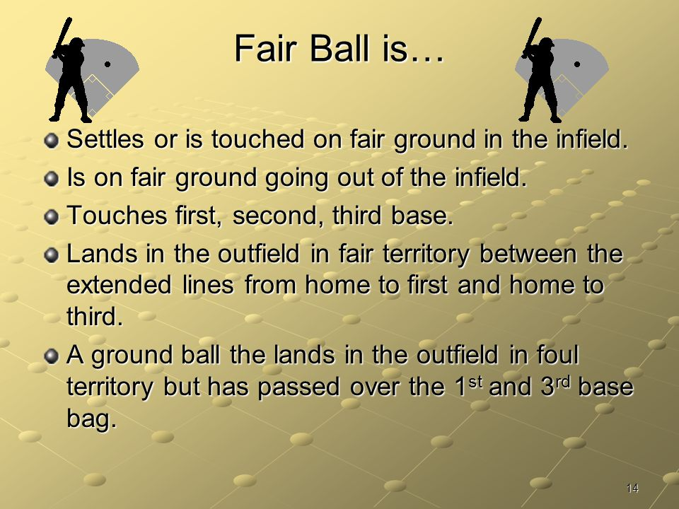 Fair Ball is… Settles or is touched on fair ground in the infield.