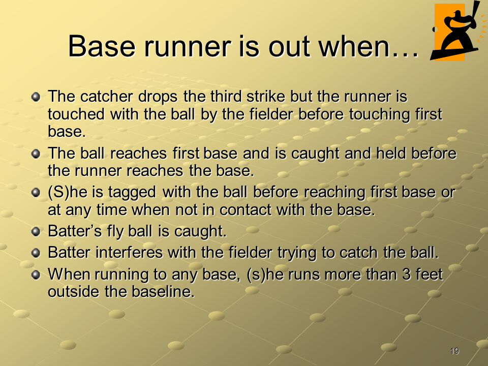 Base runner is out when…