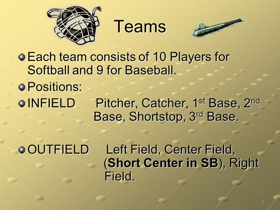 Teams Each team consists of 10 Players for Softball and 9 for Baseball. Positions: