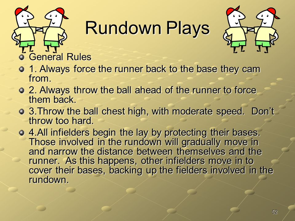 Rundown Plays General Rules