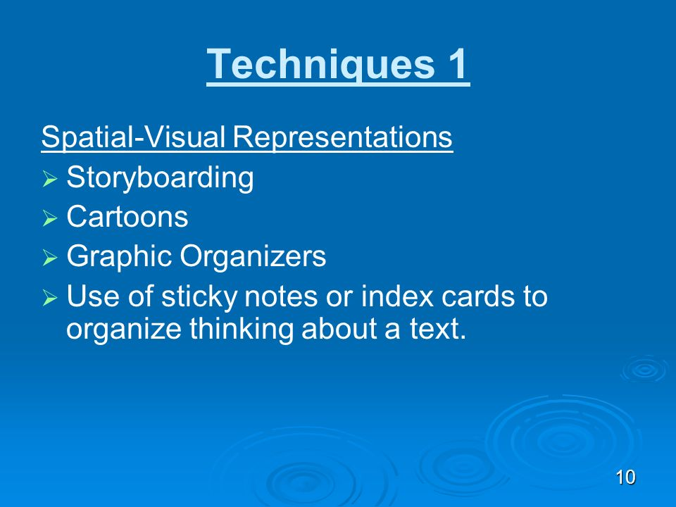 Techniques 1 Spatial-Visual Representations Storyboarding Cartoons