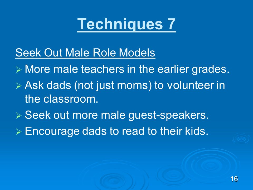 Techniques 7 Seek Out Male Role Models