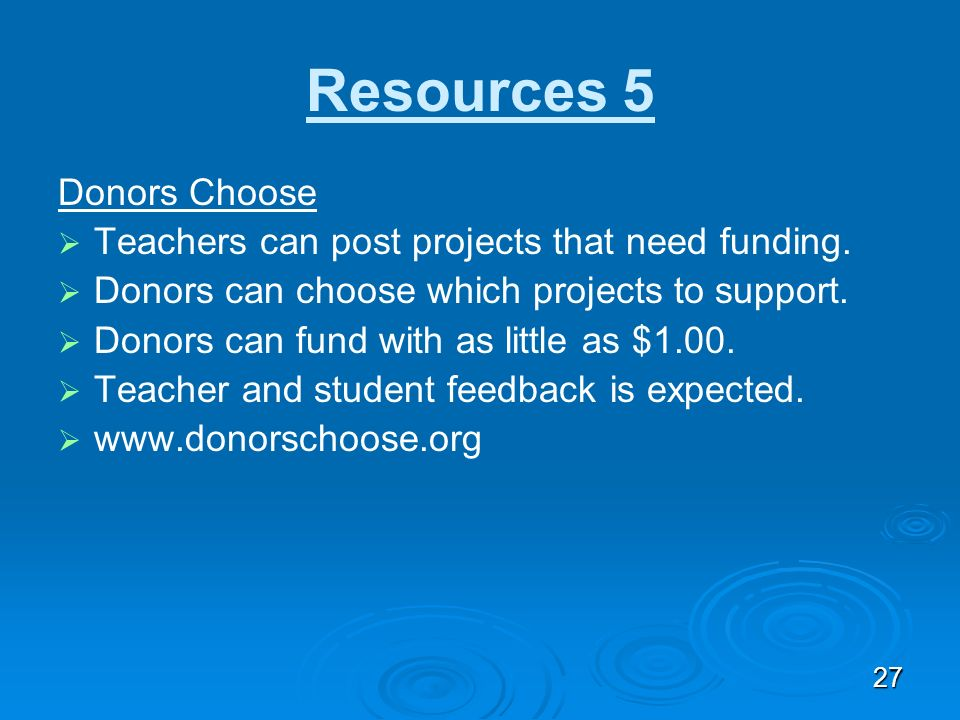 Resources 5 Donors Choose