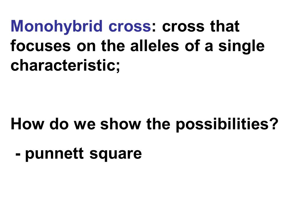 Monohybrid cross: cross that focuses on the alleles of a single characteristic;