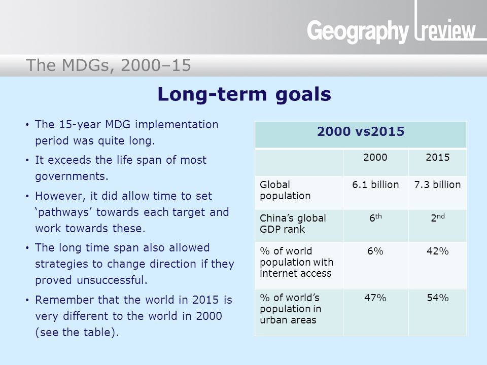 Long-term goals The 15-year MDG implementation period was quite long. It exceeds the life span of most governments.