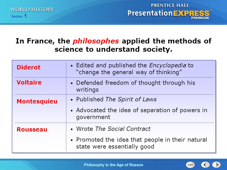 In France, the philosophes applied the methods of science to understand society.
