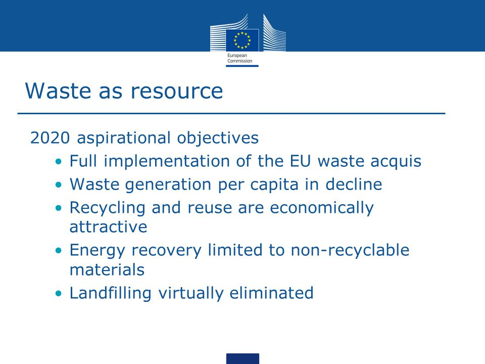 Waste as resource 2020 aspirational objectives