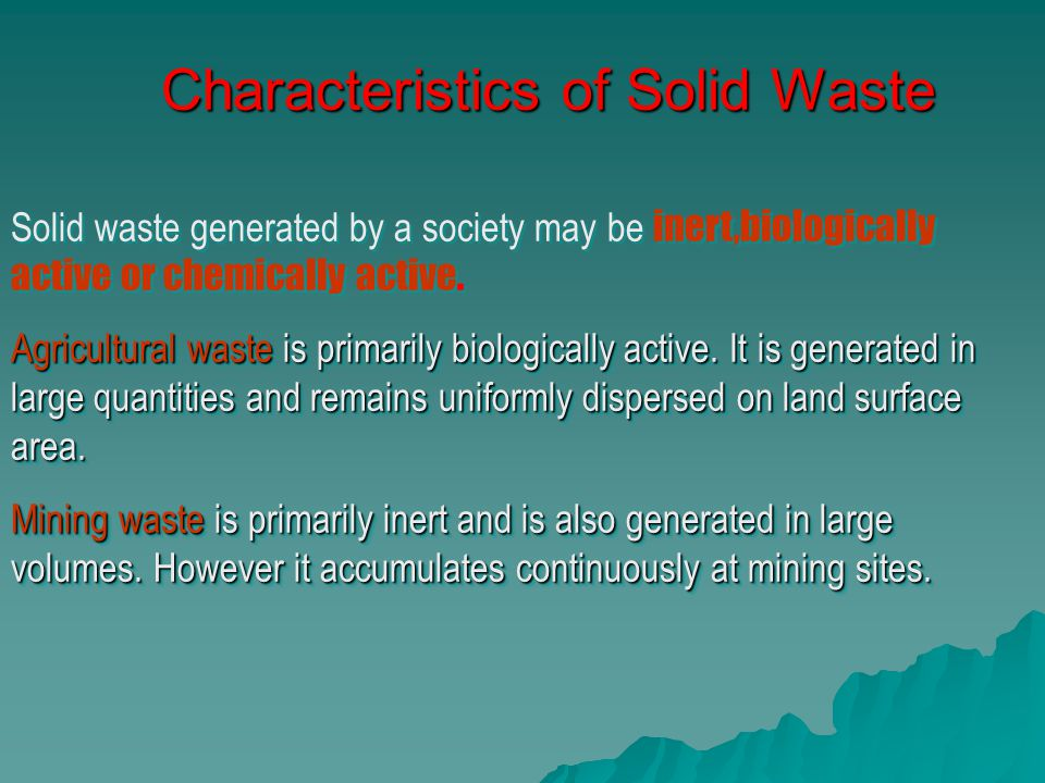 Characteristics of Solid Waste