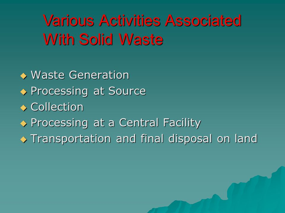 Various Activities Associated With Solid Waste