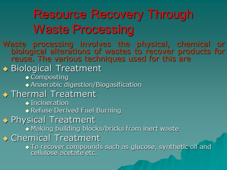 Resource Recovery Through Waste Processing