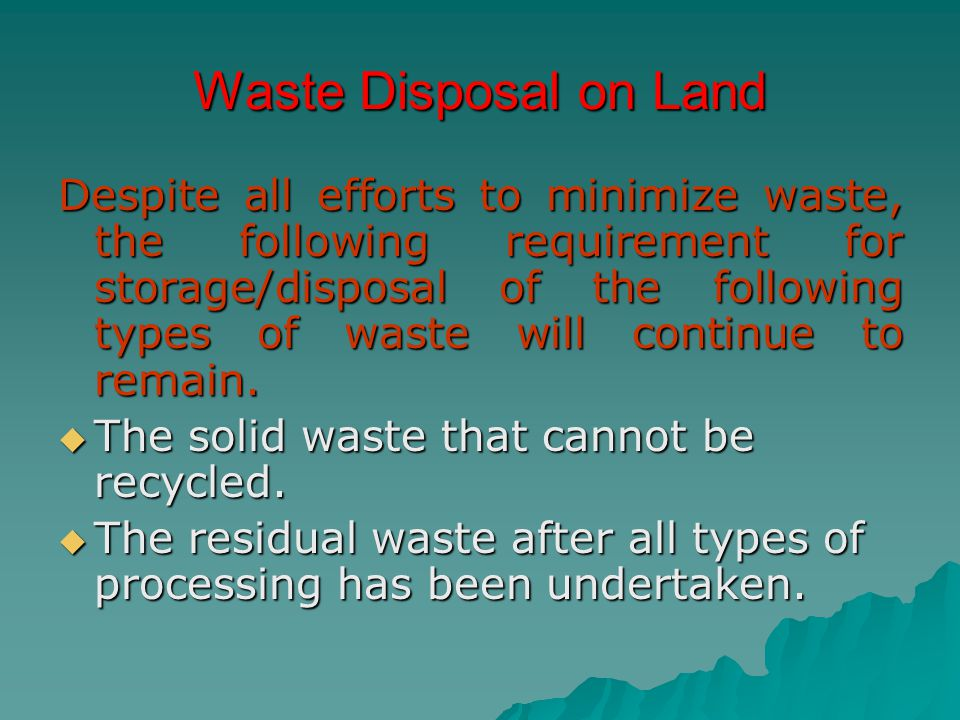 Waste Disposal on Land