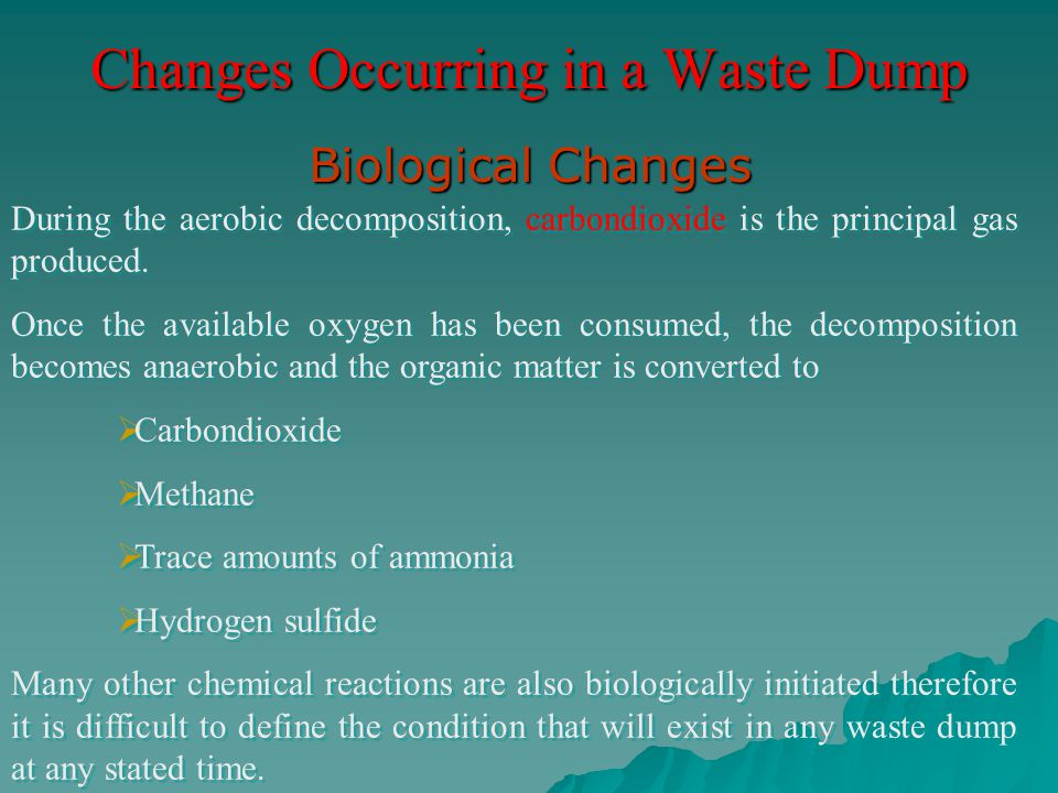 Changes Occurring in a Waste Dump