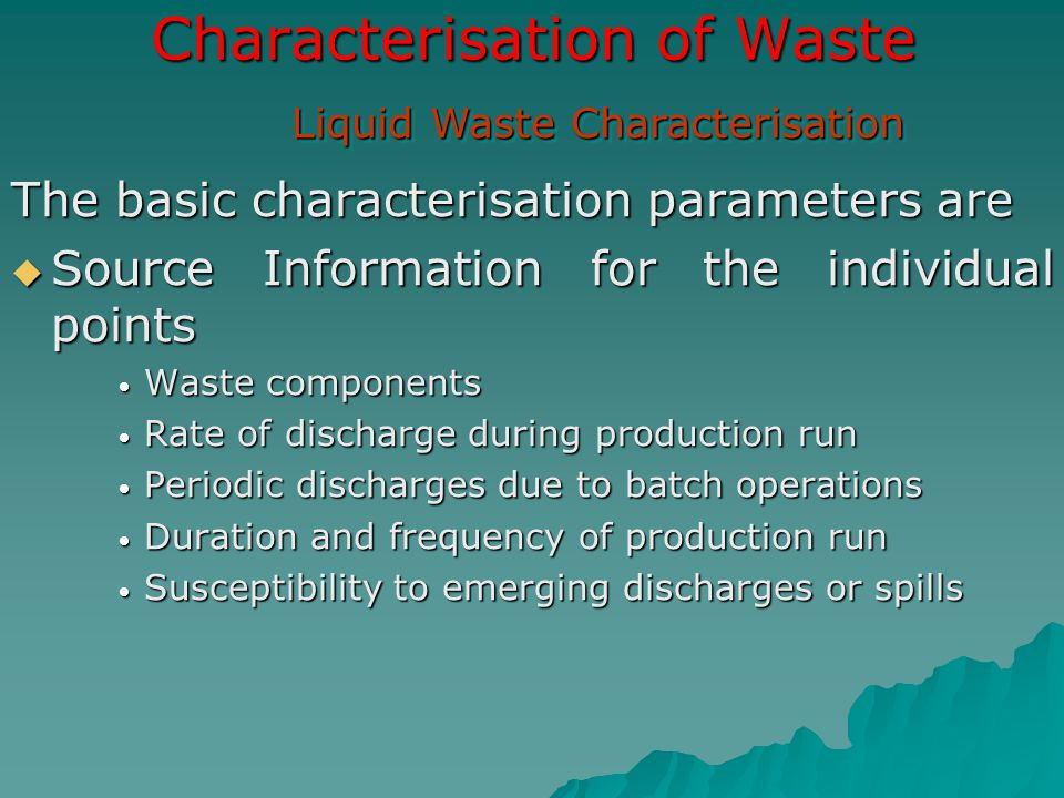 Characterisation of Waste
