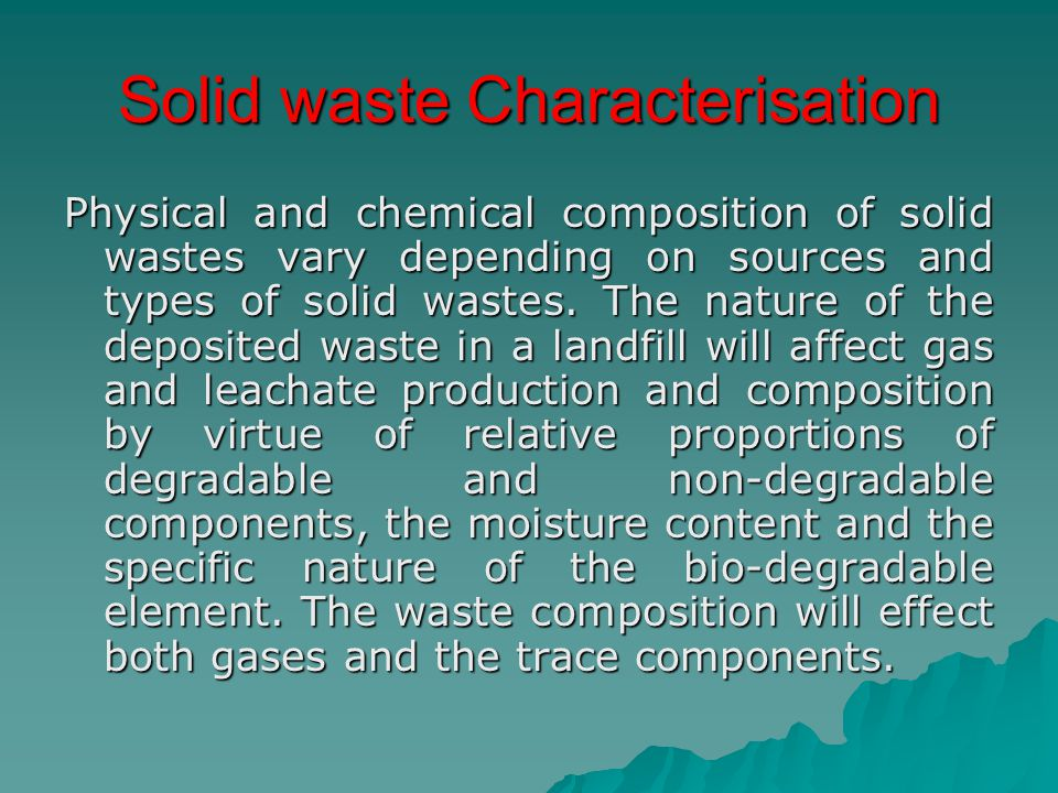 Solid waste Characterisation