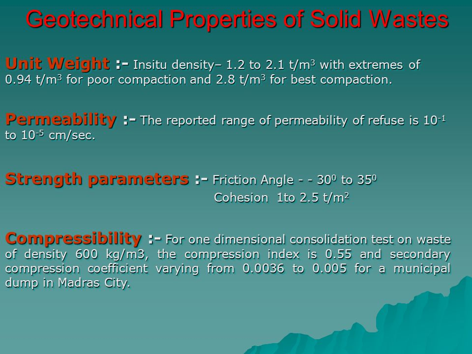 Geotechnical Properties of Solid Wastes
